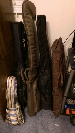 2 guitars, 1 bass, 2 ukuleles, and a CBG...and I have maxed out my space.  ...this does not bode well for the future...